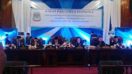 Paripurna HUT ke 392 Kota Manado, Dewan Beri Catatan di akhir Kepemimpinan GSVL-Ai