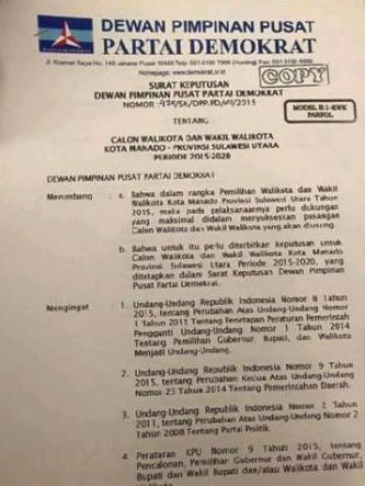 Didampingi Mor Bastian, DPP PD Akhirnya Restui GS Balon Walikota Manado