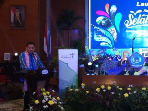 Gubernur Sulut, Olly Dondokambey sambutan saat Launching Festival Pesona Wisata Manado 2017 yang berlangsung dibalirung Soesilo Sudarman, Gedung Sapta Pesona Kementerian Pariwisata RI