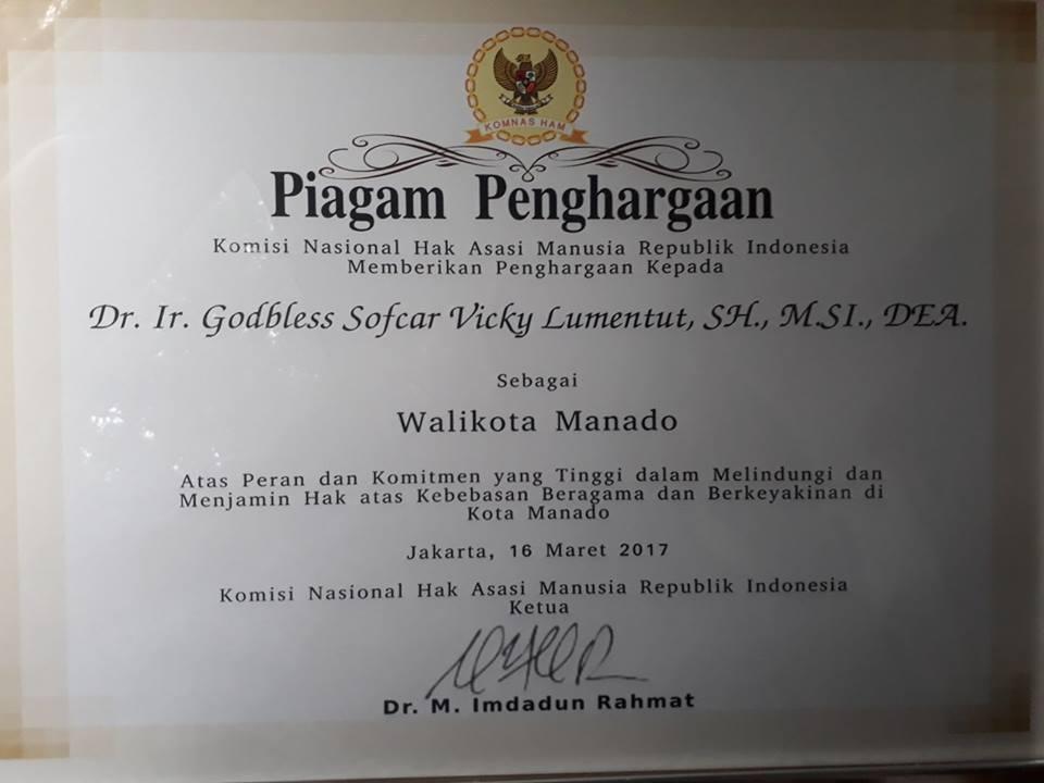 Terima Penghargaan Komnas HAM, Manado Mampu Wujudkan Toleransi Umat Beragama