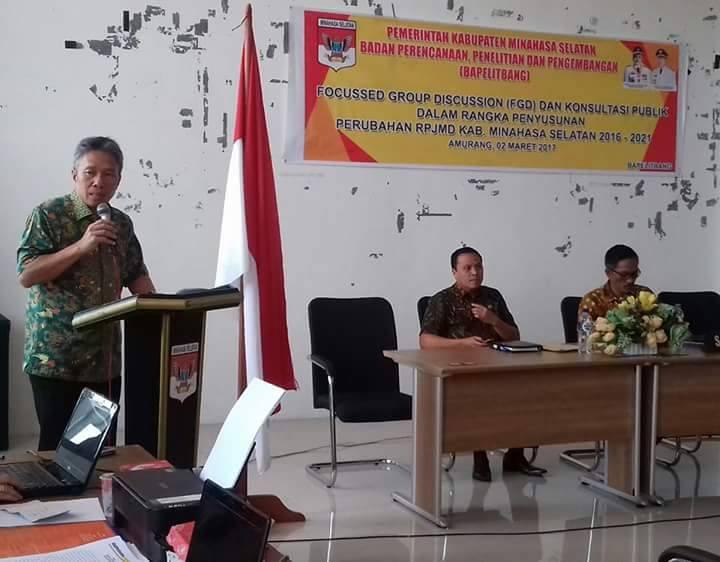 Pemkab Minsel Gelar FGD dan Konsultasi Publik Penyusunan Perubahan RPJMD