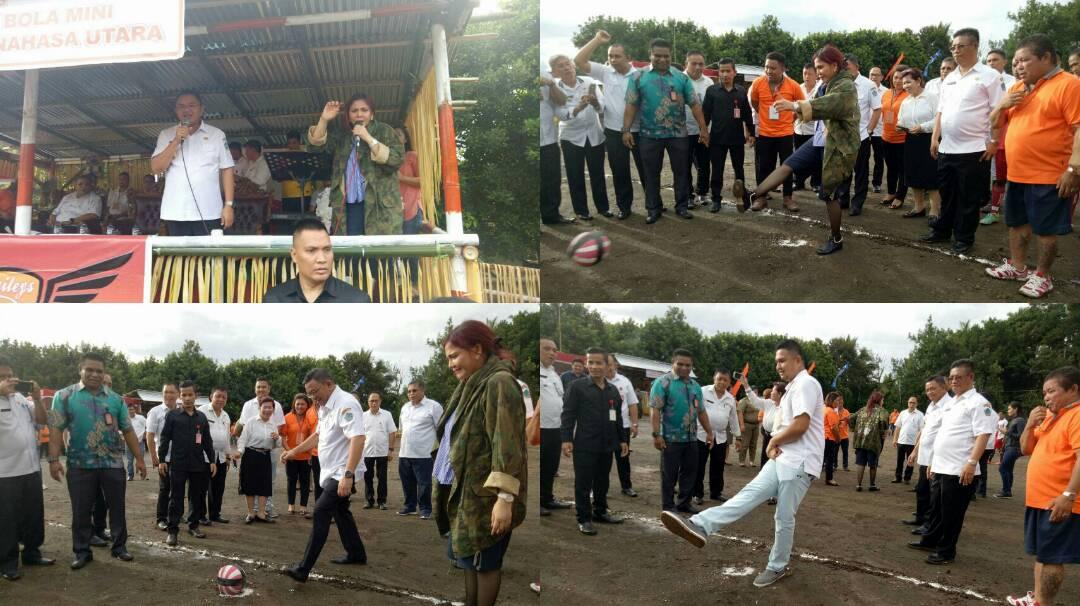 Buka Turnamen Sepakbola Mini Antar Desa se-Minut, Bupati VAP Minta Junjung Tinggi Sportivitas