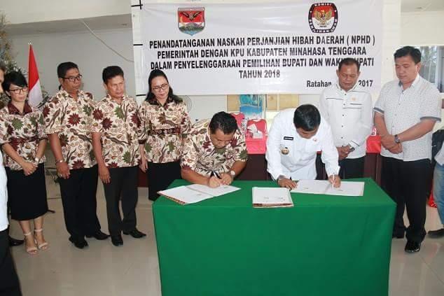 Pemkab Mitra dan KPU Lakukan Penandatanganan NPHD Untuk Pilkada 2018