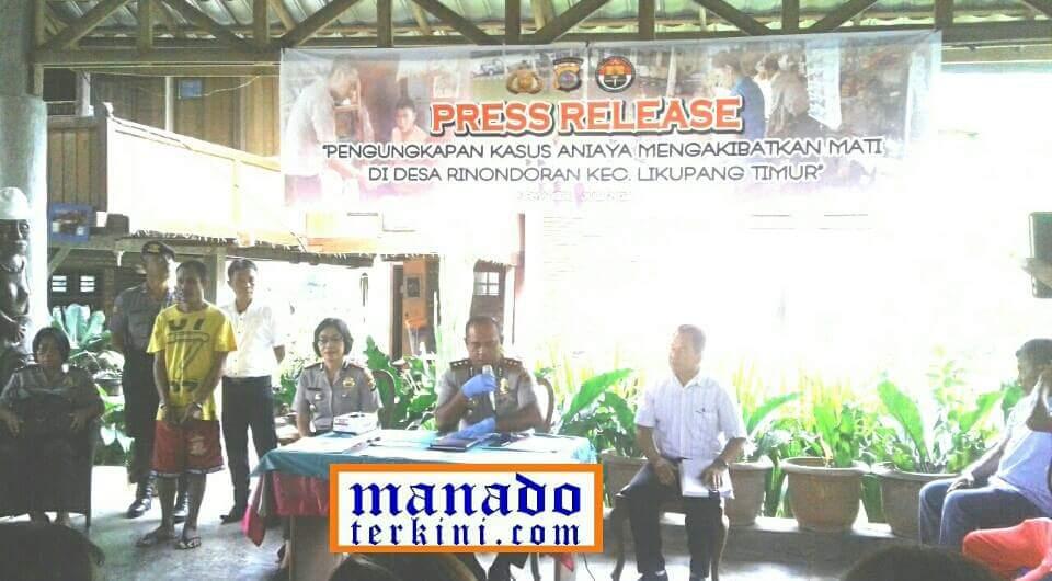 Polres Minut Beberkan Pengungkapan Kasus Pembunuhan di Rinondoran