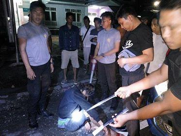 'Doger' di Dor Anggota Polres Minut Saat Beraksi di Sarongsong