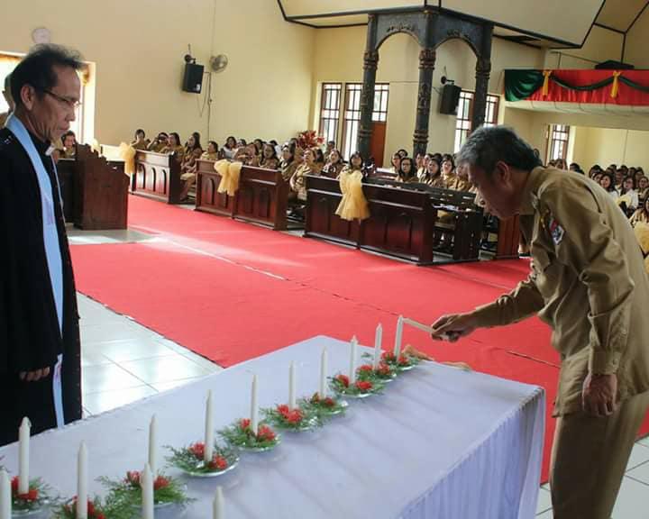 Dihadiri Wabup, Dikpora Minsel Gelar Ibadah Pra Natal Bersama