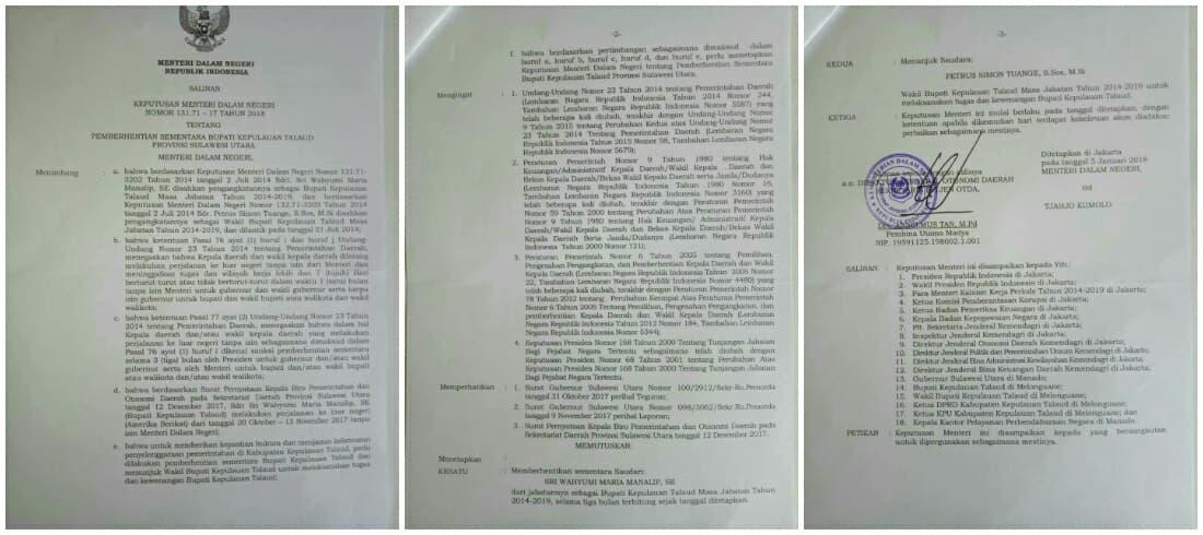 Mendagri Berhentikan Bupati Kepulauan Talaud