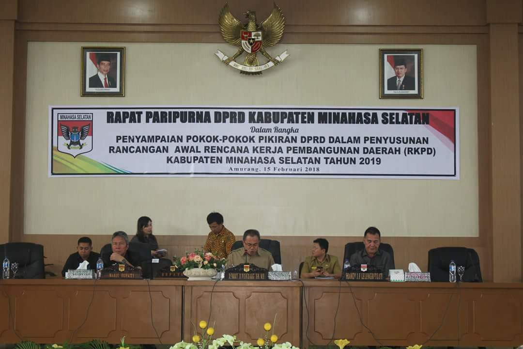 DPRD Minsel Gelar Paripurna Tentang Penetapan Pokok Pikiran Penyusunan RKPD Tahun 2019