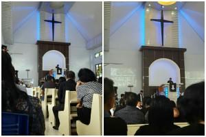 Pdt Lidya Kandio - Waworuntu memimpin Ibadah Jumat Agung pagi hari (foto kiri) dan Pdt Imelda Mohede Saroinsong STh menjadi khadim pada Ibadah Perjamuan Kudus Jumat Agung sore hari (foto kanan)
