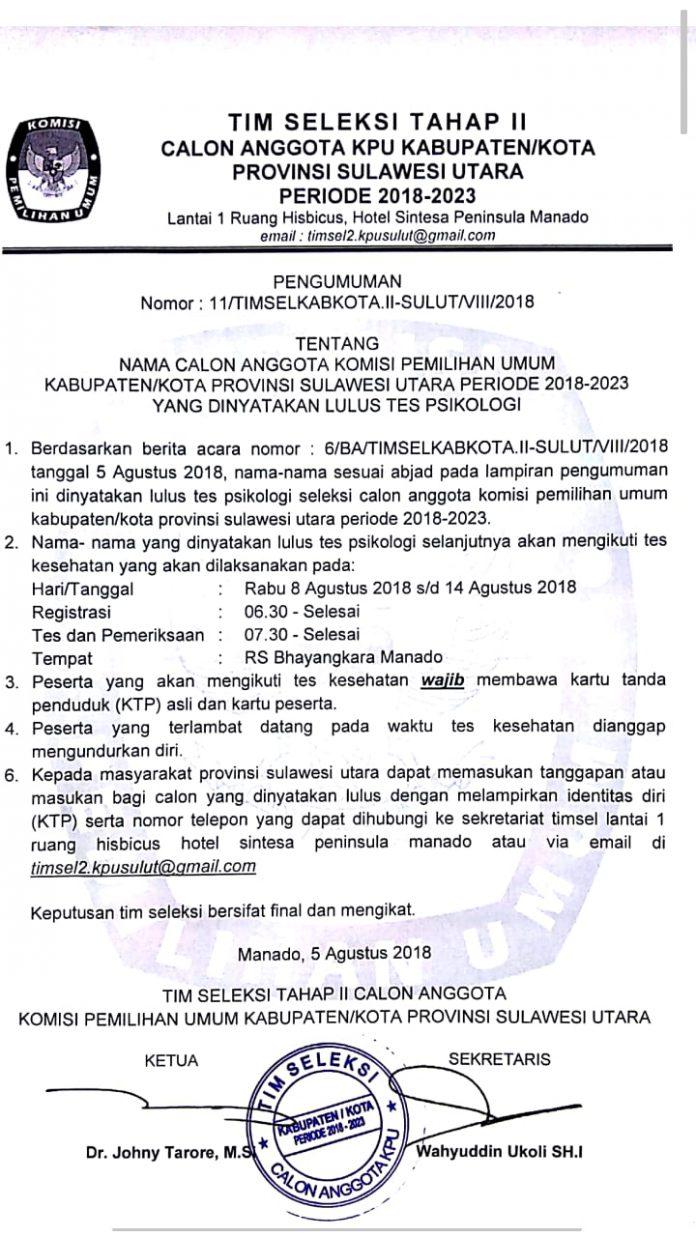 Timsel Umumkan Calon KPU Kabupaten/Kota di Sulut Lulus Tes Psikologi