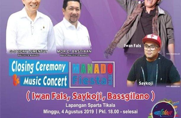 Iwan Fals, Saykoji dan Bassgilano Hibur Closing Ceremony Manado Fiesta 2019