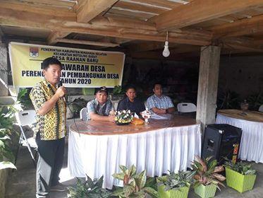 Pemdes Raanan Baru Gelar Musdes dan Penyusunan RKP Desa Tahun 2020