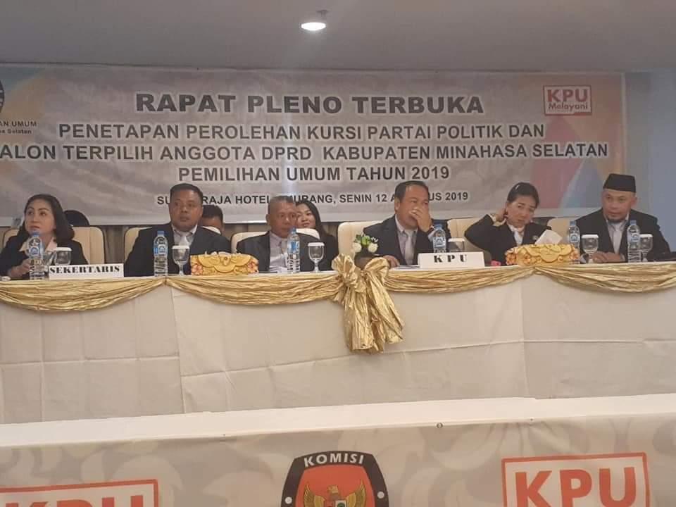 KPUD Minsel Gelar Rapat Pleno Terbuka Penetapan Kursi dan Caleg Terpilih 2019