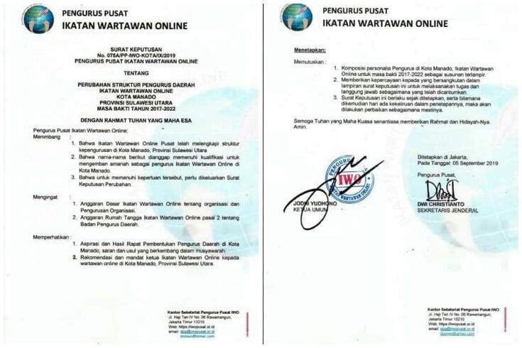 Diduga Tak Mampu Bersaing, IWO Manado Dituduh Organisasi Profesi Ilegal