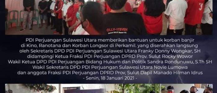 Peduli Bencana, PDI-P Sulut Salurkan Bantuan
