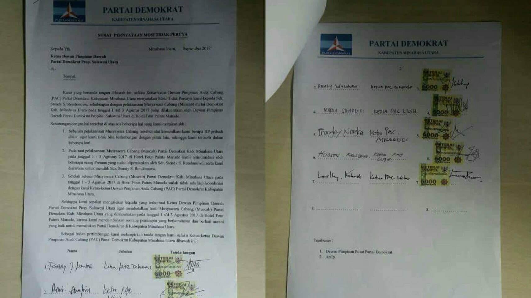 7 PAC Demokrat Minut TandatanganiMosi Tidak Percaya Pada Ketua DPC