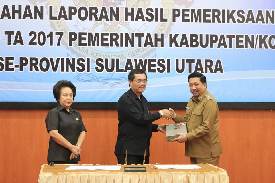 LKPD 2017, Pemkot Manado Raih Opini WTP