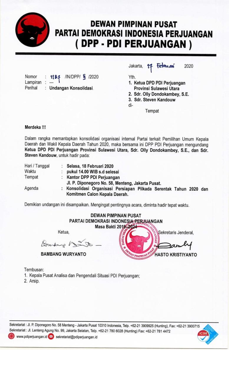 Permalink ke PDIP Jadi Partai Pertama Usung Cagub dan Cawagub Sulut