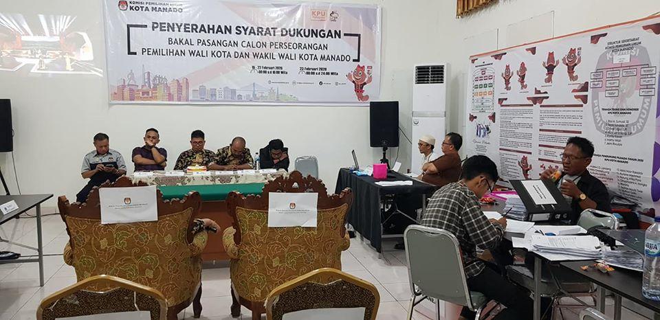 Disaksikan Bawaslu, KPU Manado Resmi Tutup Penyerahan Dokumen Syarat Dukungan Perseorangan