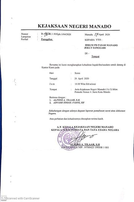 Kejari Panggil Sejumlah Direksi PD Pasar Manado