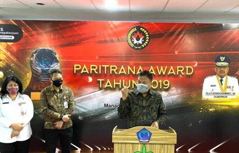 Pemprov Sulut Juara 1 Tingkat Nasional Penghargaan Paritrana Award 2019