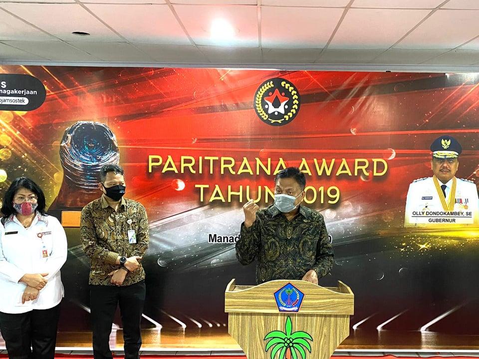 Permalink ke Pemprov Sulut Juara 1 Tingkat Nasional Penghargaan Paritrana Award 2019