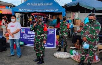 Permalink ke PD Pasar Manado dan Koramil sosialisasi pentingnya pakai masker